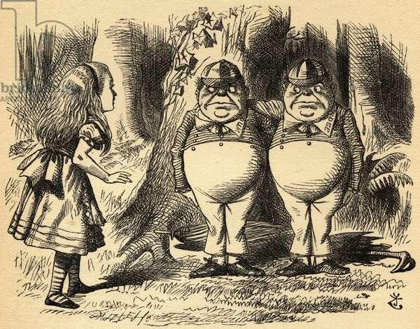 Alice with Tweedledum and Tweedledee. Illustration by Sir John Tenniel, 1820-1914