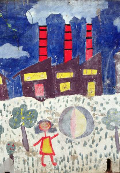 Children's painting of Poble Sec Power Station on a street wall (mural)