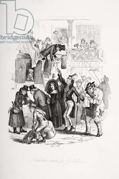 Nicholas starts for Yorkshire, illustration from `Nicholas Nickleby' by Charles Dickens (1812-70) published 1839 (litho)