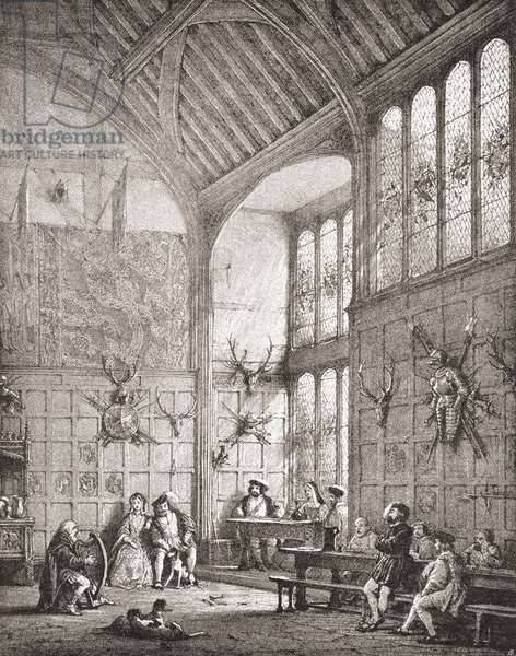 The Great Hall, Ockwells Manor, Cox Green, Berkshire, England.  From The Mansions of England in the Olden Time, published 1906.
