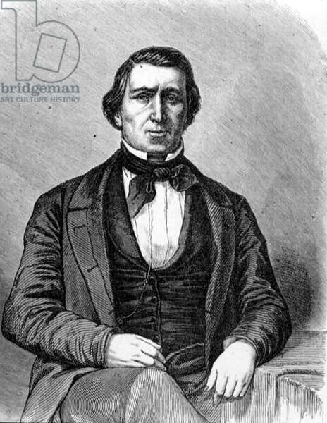 Brigham Young (1801-77) Second President of the Mormon Church and Founder of Salt Lake City, Utah, from 'La Vuelta al Mundo', published in Madrid, 1865 (engraving)