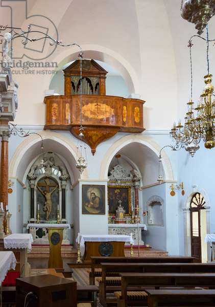 Interior if the Visovac Monastery church on Visovac Island which is within the national park, Krka National Park, Nacionalni park Krka, Dalmatia, Croatia (photo)