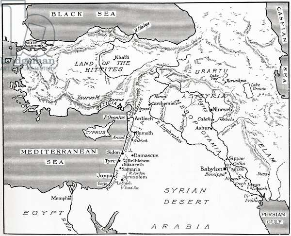 Map of the Babylonian, Assyrian and Hittite empires.  From Hutchinson's History of the Nations, published 1915.