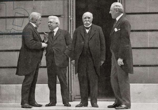 "The ""Big Four"" at Versailles, France during the peace treaty of 1919 at the end of World War One, from The Year 1919 Illustrated"