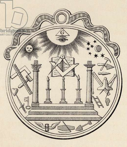 Masonic seal, from 'The History of Freemasonry, volume III', published by Thomas C. Jack, London, 1883 (litho)