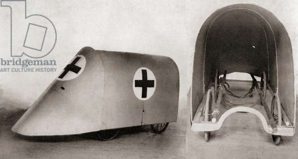 A bullet proof stretcher cover for rescuing the wounded and the stretcher bearers between trenches during World War One, from 'The Illustrated War News', 1915 (b/w photo)