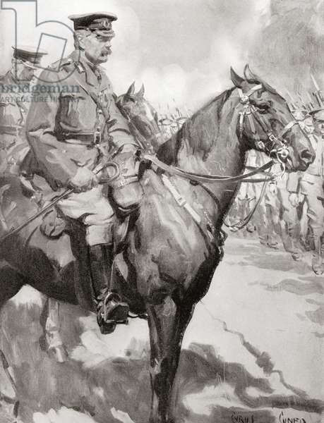 Lord Kitchener inspecting part of Kitchener's Army, after the drawing by Cyrus Cunco.  Field Marshal Horatio Herbert Kitchener, 1st Earl Kitchener, 1850 – 1916. British Field Marshal.   From Field Marshal Lord Kitchener, His Life and Work for the Empire, published 1916.
