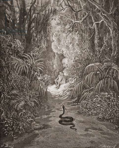 Illustration by Gustave Dore 1832-1883 French artist and illustrator for Paradise Lost by John Milton Book IX lines 434 and 435