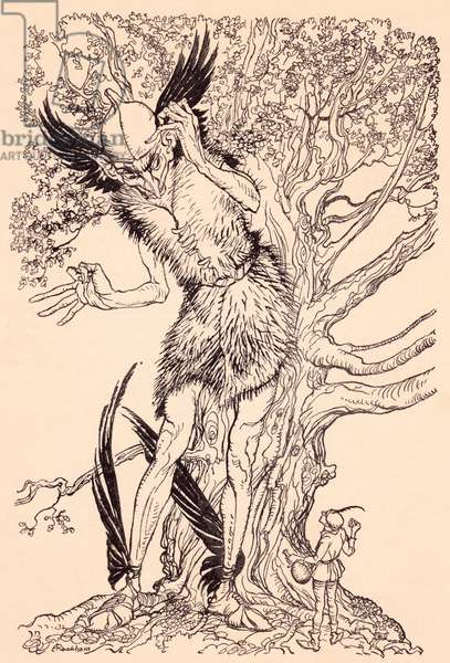 A terrible fellow half as big as the tree by which he was standing.  Illustration by Arthur Rackham from Grimm's Fairy Tale, The Spirit in the Glass Bottle.
