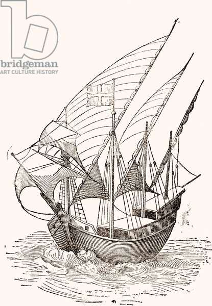 A 15th century Caravel.  From El Museo Popular published Madrid, 1889