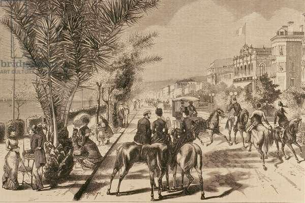 Promenade des Anglais, Nice, 1880 (engraving)