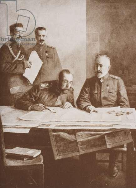 Tsar Nicholas II seated with Grand Duke Nicholas (litho)