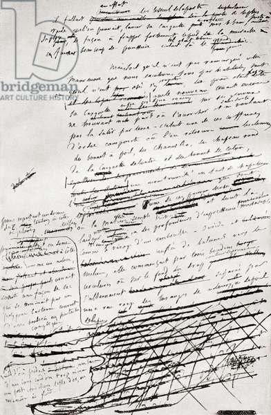 From a page in the manuscript of Madame Bovary , from Gustave Flaubert, published 1935 (litho)