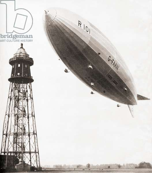 The final flight of the British rigid airship R101 which crashed during bad weather conditions over France in 1930, 48 of the 54 people aboard perished in the accident, from These Tremendous Years, pub.1938