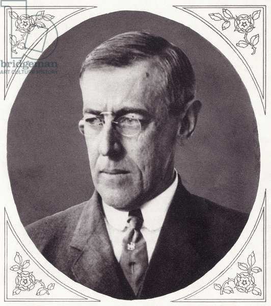 Thomas Woodrow Wilson, from 'The Illustrated War News', published in 1915 (litho)