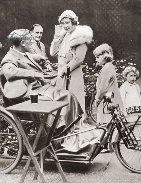 The Duchess of York with her daughters Princesses Elizabeth and Margaret in 1933 on a visit to The Disabled Soldiers' Embroidery Society, from The Coronation Book of King George VI and Queen Elizabeth, pub.1937