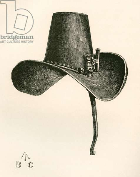 17th century Iron Hat with nose protection, worn by Charles I, from The British Army: Its Origins, Progress and Equipment, published 1868.