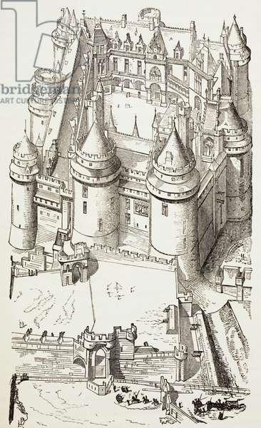 Castle of Pierrefonds, France, c.1880 (litho)