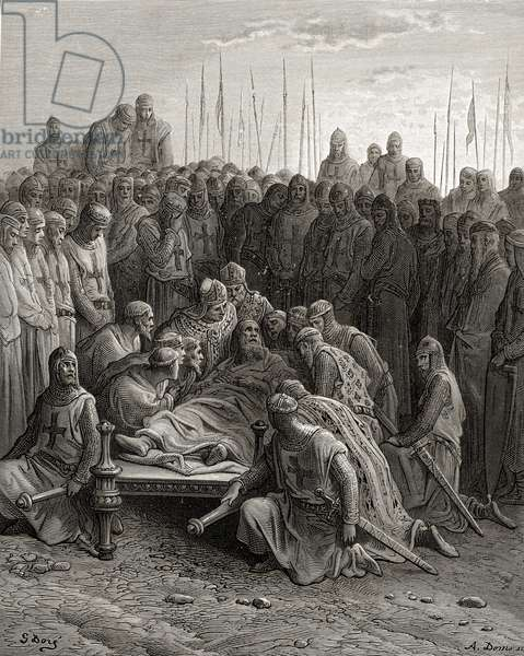 Death of Baldwin I (1171-1205) the Latin King of Jerusalem, illustration from 'Bibliotheque des Croisades' by J-F. Michaud, 1877 (litho)