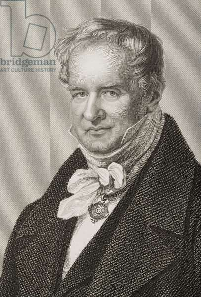 Friedrich Heinrich Alexander Humboldt (1769-1859), Baron von Humboldt, engraved by D.J. Pound from a photograph, from 'The Drawing-Room of Eminent Personages, Volume 2', published in London, 1860 (engraving) (detail of 266626)