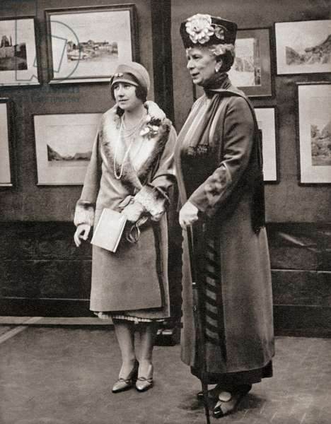 Queen Mary and her daughter-in-law the Duchess of York at the Victoria and Albert Museum, London, England in 1928, from The Coronation Book of King George VI and Queen Elizabeth, pub.1937