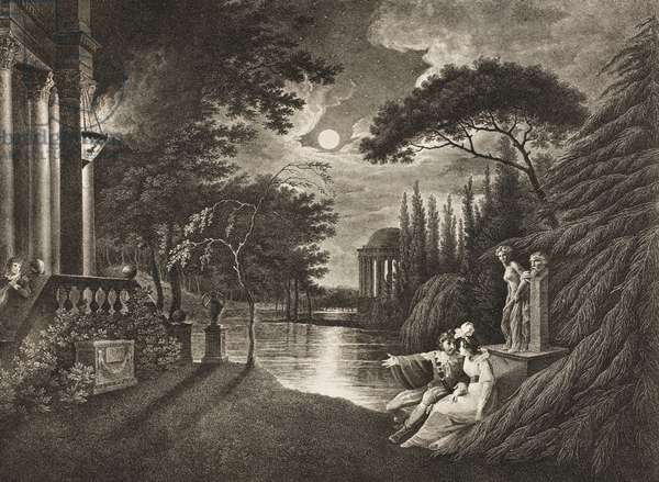 Belmont, Avenue to Portia's House, Act IIV, Scene I, from 'The Merchant of Venice', from The Boydell Shakespeare Gallery, published late 19th century (litho)