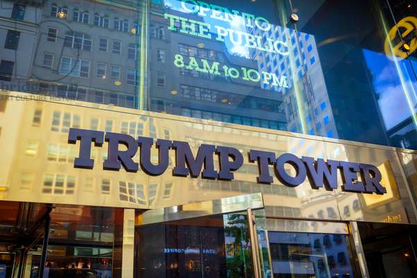 New York, New York State, United States of America.  Exterior of Trump Tower on Fifth Avenue.