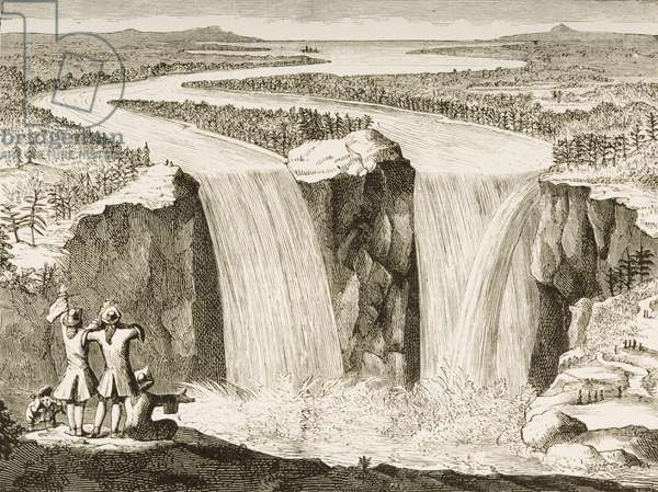 Niagara Falls, after a sketch made by Father Hennepin in 1677, from 'American Pictures' published by the Religious Tract Society, 1876 (engraving)