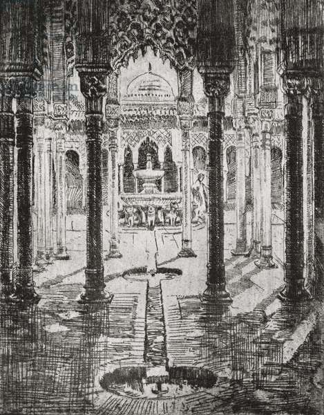 """Court of Lions, Alhambra Palace, Granada, Spain. Etching by Ada C. Williamson from the book """"Tawny Spain"""" published 1927."""