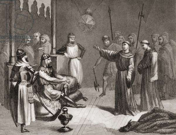 San Francisco of Assisi tries to convert Melek-el-Kamel to Christianity during the fifth crusade (litho)