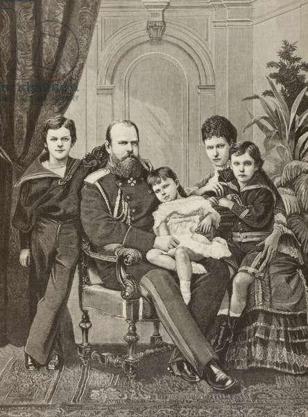 Alexander III of Russia and his family, from 'La Ilustracion Espanola y Americana' of 1881 (litho)