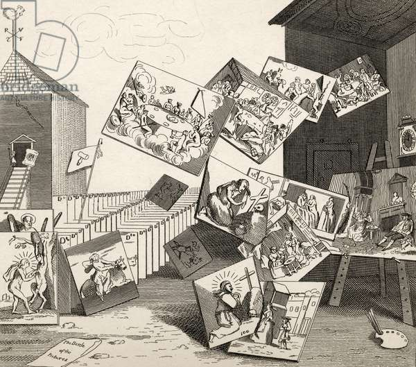 The Battle of the Pictures, from 'The Works of Hogarth', published 1833 (litho)