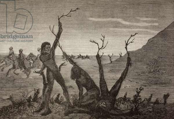 The Tree Men of India in the 19th century, from 'La Ilustracion Espanola y Americana' of 1881 (litho)