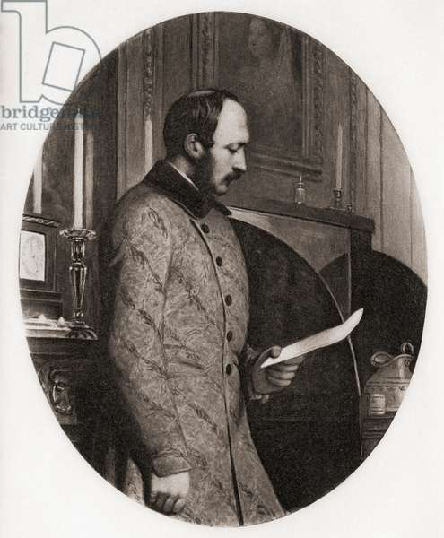 """H.R.H.Albert, Prince Consort in 1861. 1819-1861. Engraved by Emery Walker from the picture by Smith after Corbould. From the book """"The Letters of Queen Victoria 1854-1861 Vol III"""" published 1907."""