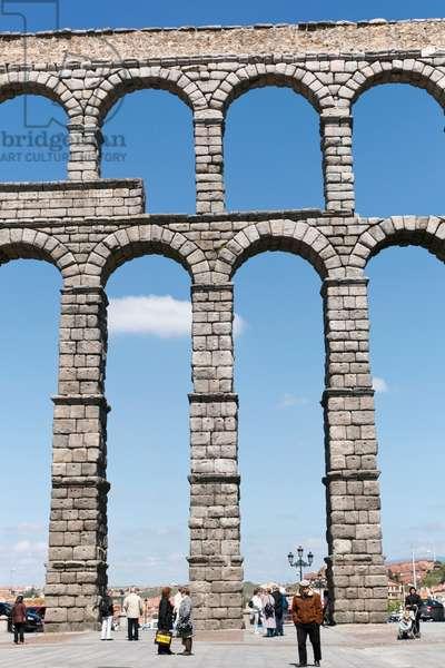 Segovia, Segovia Province, Spain. The Roman aqueduct.  UNESCO World Heritage Site. (photo)