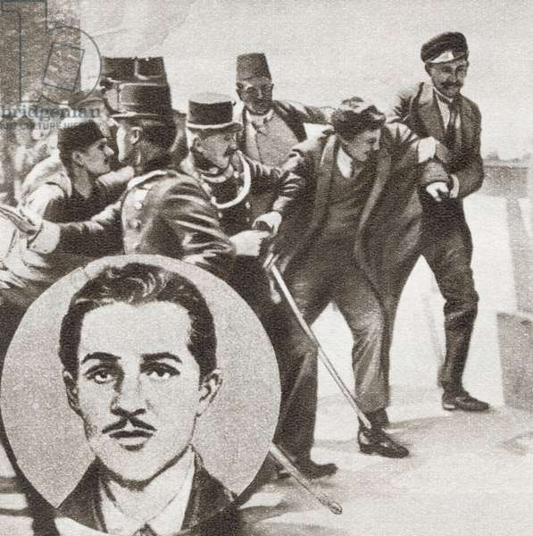 The police arresting Gavrilo Princip, 1894 -1918.  From The Story of 25 Eventful Years in Pictures, published 1935.