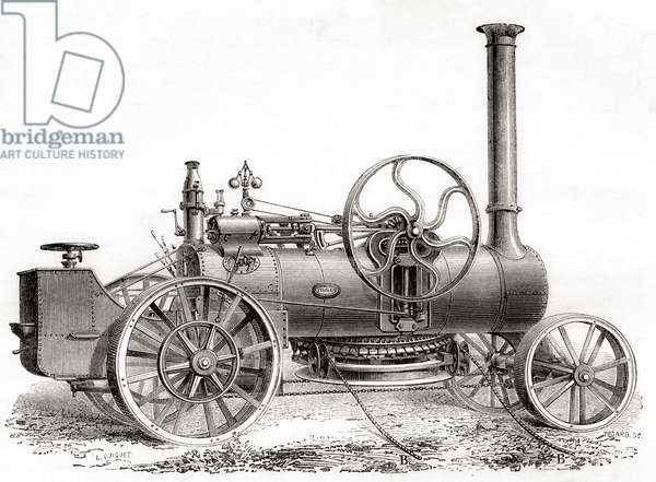 A 19th century John Fowler steam driven ploughing or traction engine, from Les Merveilles de la Science, pub.1870