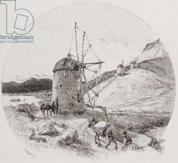 """Windmills, Ithaca, Ionian Islands, Greece, by Charles William Wyllie (1859-1923) from """"The Picturesque Mediterranean"""" circa 1890"""