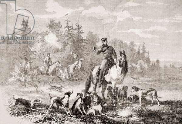 Alexander II hunting wolves near St. Petersburg, from 'L'Univers Illustré', 1866 (engraving)