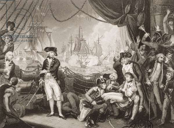 Scene on the Deck of the Queen Charlotte, 1st June 1794, illustration from 'England's Battles by Sea and Land' by Lieut. Col. Williams (engraving)