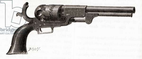 Colt Dragoon revolver, Whitneyville model with square-backed trigger guard, c.1848, from Les Merveilles de la Science, published c.1870 (engraving)