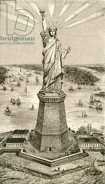 Statue of Liberty, New York, United States of America soon after its dedication on October 28, 1886. From El Museo Popular published Madrid, 1887.