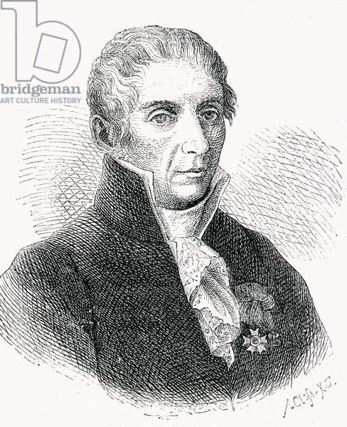 Count Alessandro Volta (1745-1827) engraved by Adolf Closs (1840-94) (engraving)