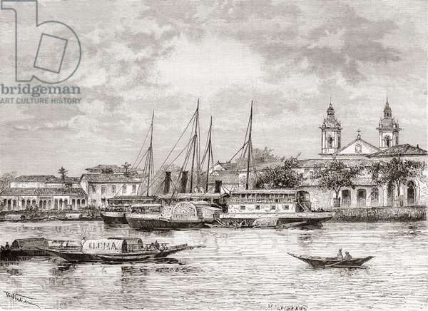 The port of Manaus, Amazonas State, Northern Brazil (engraving)