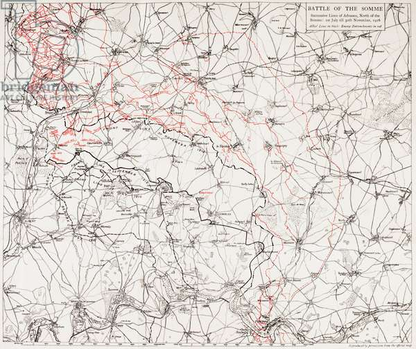 Map of the Battle of the Somme, or the Somme Offensive, in the First World War (colour litho)