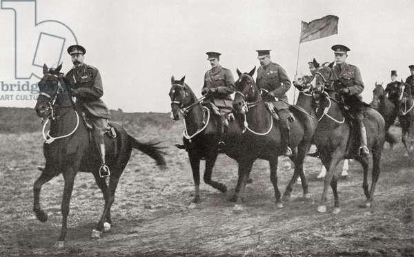 King George V and Lord Kitchener arriving at the parade ground near Aldershot for an inspection of Irish Soldiers.  Field Marshal Horatio Herbert Kitchener, 1st Earl Kitchener, 1850 – 1916. British Field Marshal.   From Field Marshal Lord Kitchener, His Life and Work for the Empire, published 1916.