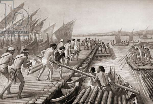 Phoenician sailors building a pontoon bridge across the Hellespont for Xerxes I of Persia enabling him to invade Greece, c. 480 BC.  From Hutchinson's History of the Nations, published 1915.