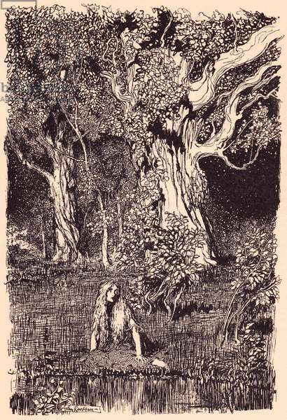 There she sat and would have remained sitting a long time if there had not been a rustling and cracking in the boughs of the nearest tree.  Illustration by Arthur Rackham from Grimm's Fairy Tale The Goose Girl at the Well.