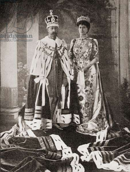 King George V and Queen Mary in their state robes after the coronation ceremony in 1911, from 'The Story of Twenty Five Years', published 1935 (b/w photo)