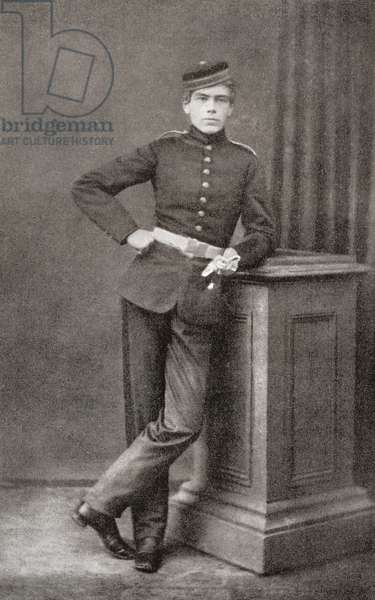 Lord Kitchener as a cadet at Woolwich Academy, aged 17.  Field Marshal Horatio Herbert Kitchener, 1st Earl Kitchener, 1850 – 1916. British Field Marshal.   From Field Marshal Lord Kitchener, His Life and Work for the Empire, published 1916.